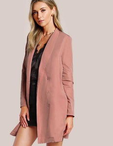 Soft Pink Embroidered Detail back Jacket / Dress
