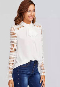 White Blouse Lace Sleeves