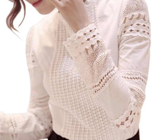 White Embroidered Sleeves Blouse