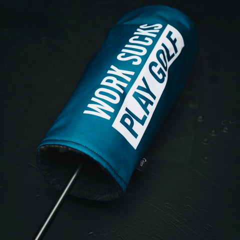 WORK SUCKS PLAY GOLF HEADCOVER-DRIVER LIGHT NAVY