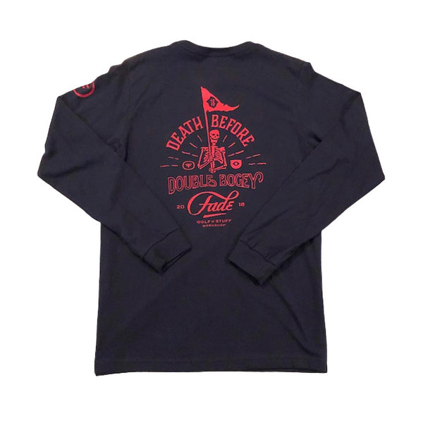 DEATH BEFORE DOUBLE BOGEY L/S TEE   NAVY/RED - Fade Golf N' Stuff Workshop