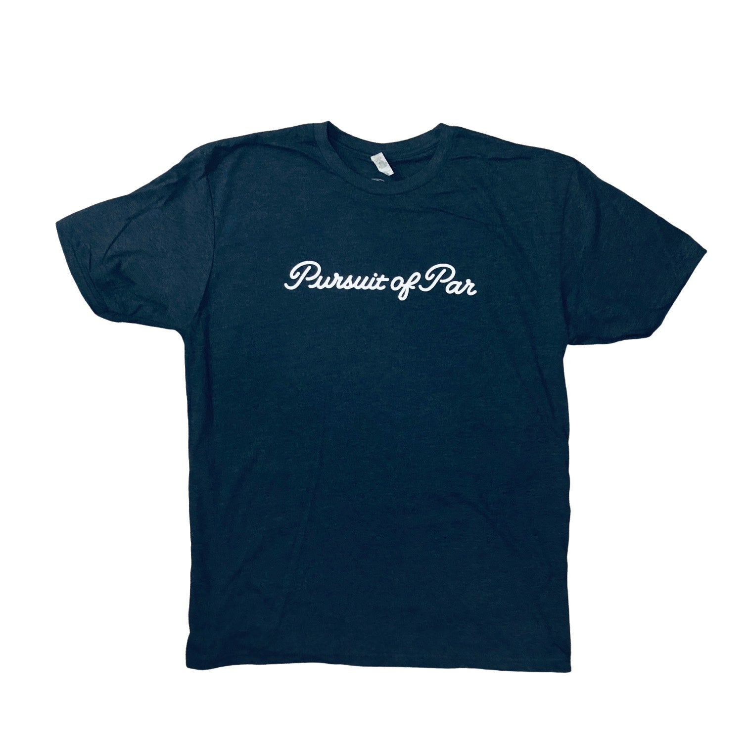 PURSUIT OF PAR SCRIPT TEE-HEATHER NAVY