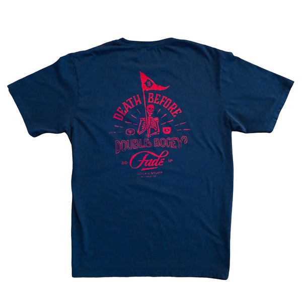 DEATH BEFORE DOUBLE BOGEY  NAVY/RED SHORT SLEEVE POCKET TEE - Fade Golf N' Stuff Workshop