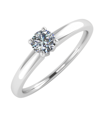 Brilliant Cut Center Diamond Solitaire Ring With Prong Basket
