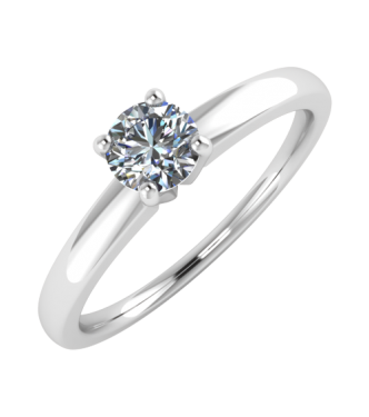 Solitaire Diamond Ring Traditional Based Shank.