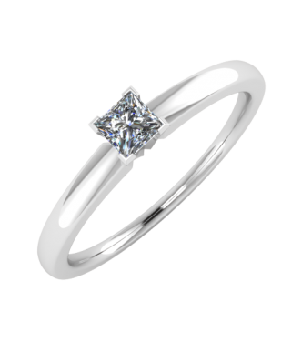 Diamond Solitaire Princess Cut Ring With Traditional Shank