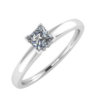 Simple and Classic diamond solitaire Princess Cut Ring