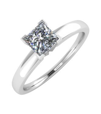 Solitaire Princess Cut Ring V-Prong Setting