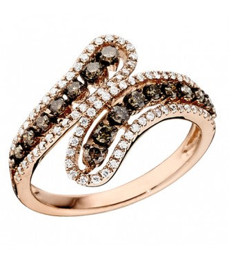 Sparkling Champagne And White Diamond Bypass Ring