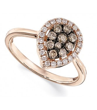 Elegant Champagne And White Diamond Pear Shaped Ring