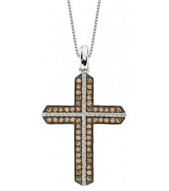 Elegant Champagne And White Diamond Cross