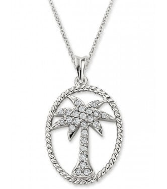Diamond Palm Tree in Oval Cable Pendant