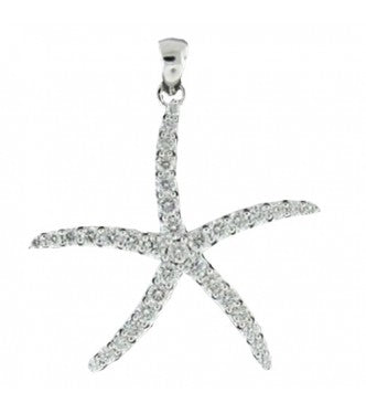 Sparkling Star Fish Pendant With Bail Prong Set