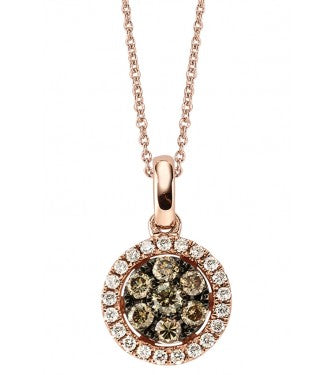 Champagne And White Diamond Round Shaped Cluster Pendent