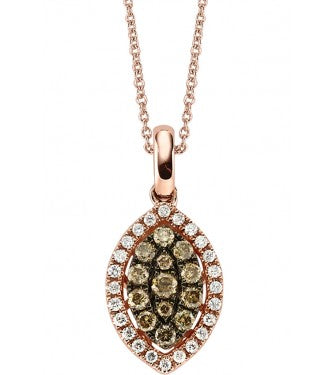Champagne And White Diamond Marquis Shaped Cluster pendant