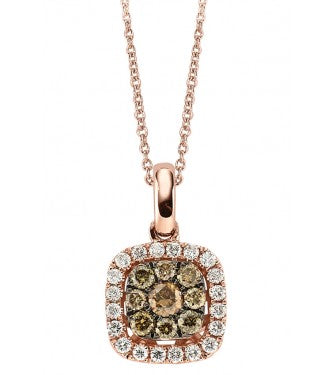 Champagne And White Diamond Cushion Shaped pendant