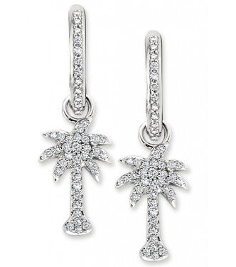 Diamond Palm Tree Dangle Hoops