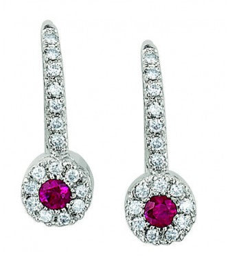 Fashon Earring Round Shaped Ruby