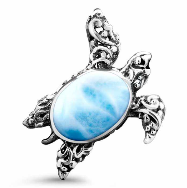 Turtle Filigree Larimar Necklace