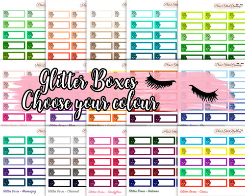 Glitter Quarter Boxes - 15 Colour Variations! Planner Stickers