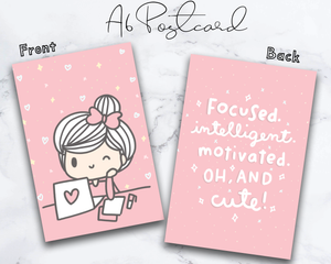 "Cute Girl Inspirational Quote Pink 4""x6"" (A6) Postcard/Dashboard"