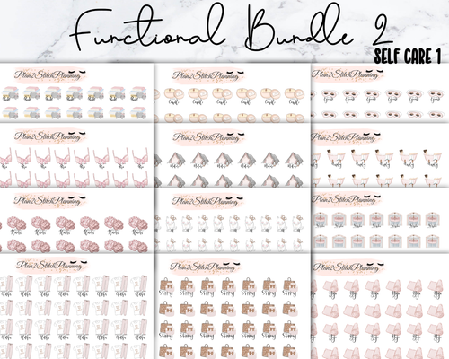 Functional Bundle 2 Self Care- 568 Stickers! 12 Sheets of Planner Stickers
