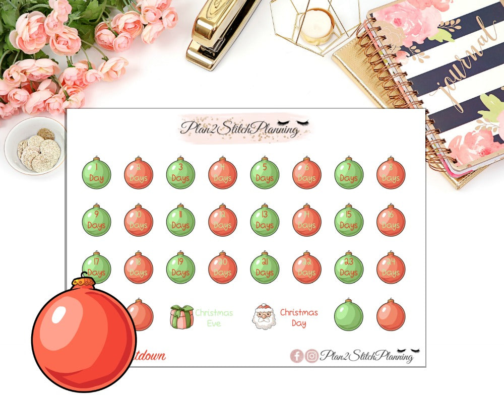 Festive Christmas Countdown Planner Stickers