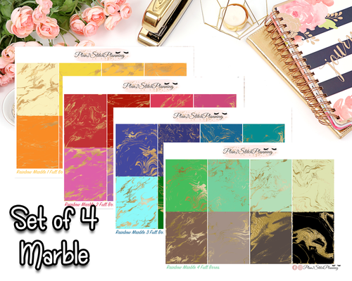 Rainbow Marble Collection Full Box Planner Stickers