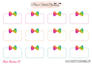 Bow Half Boxes Design #13 Planner Stickers