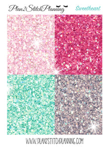 Sweetheart Matching Glitter Header Stickers