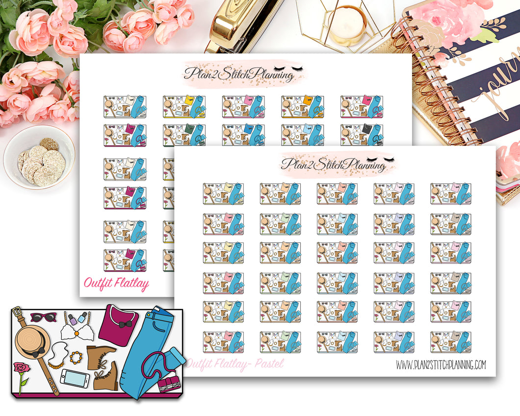 Outfit Layout Flatlay Planner Stickers
