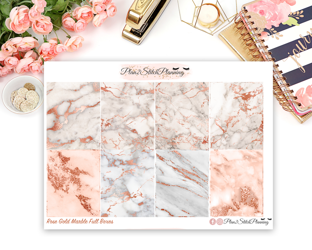 Rose Gold Marble Full Box Planner Stickers