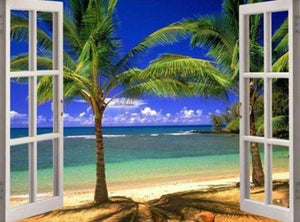 Beach Palm Trees Window Scene Diamond Painting