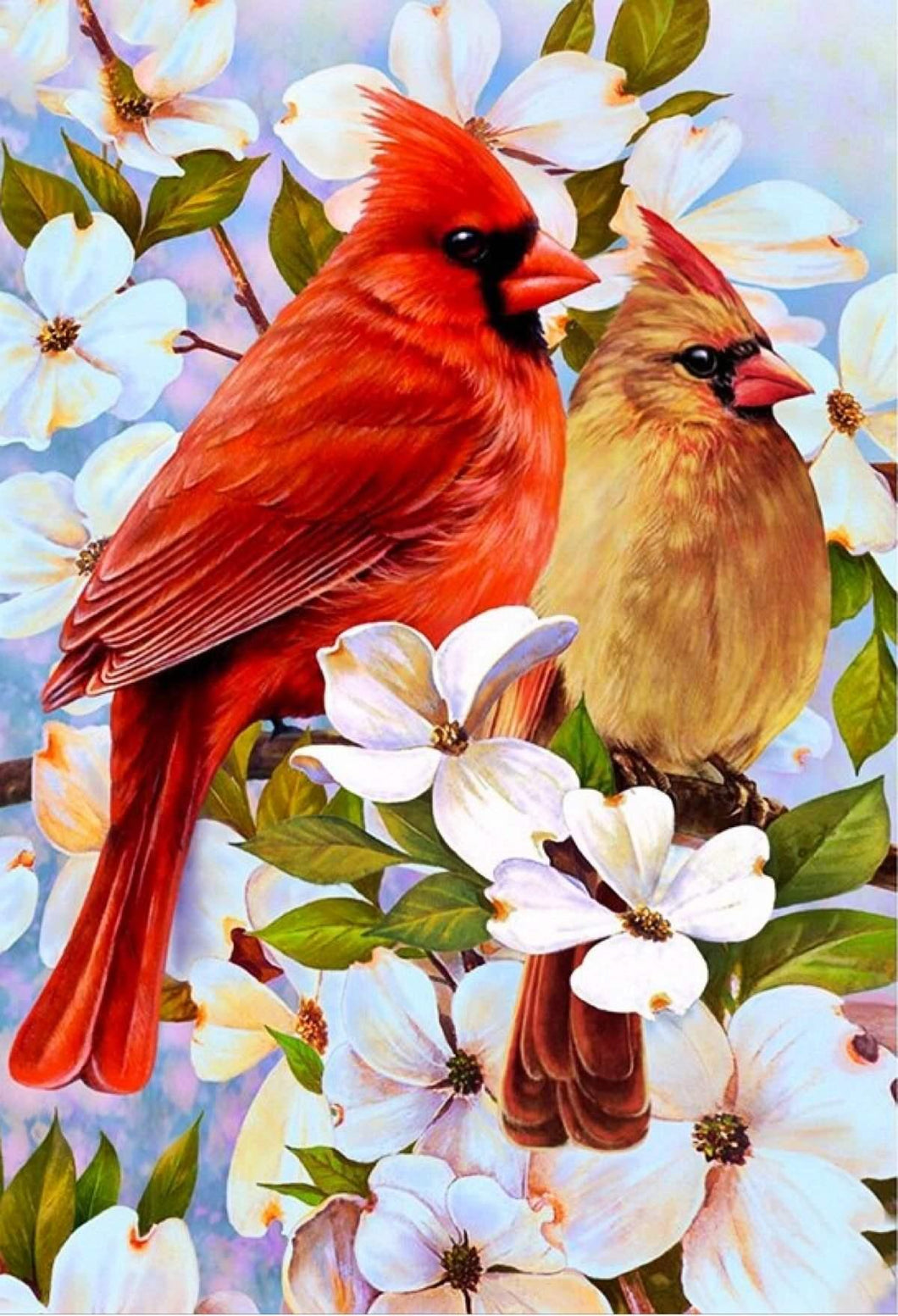 Cardinal Birds And Flowers Diamond Painting