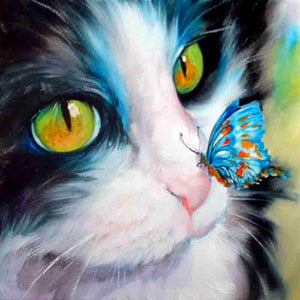 Cat And Butterfly Diamond Painting