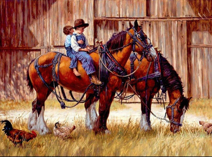 Children Riding Horses Diamond Painting