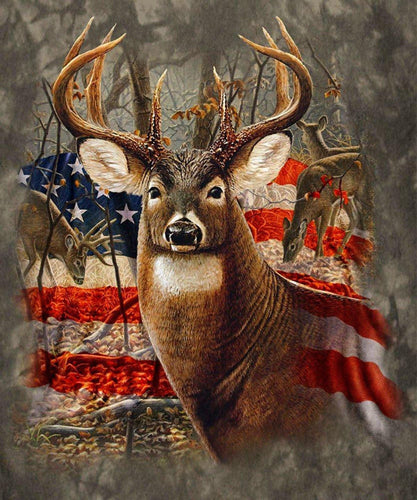 Deer And American Flag Diamond Painting