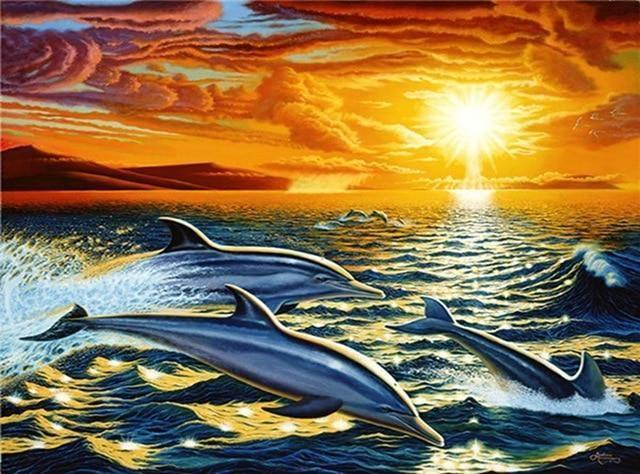 Dolphins Jumping At Sunset Diamond Painting
