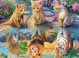 Kittens And Their Big Reflections Diamond Painting