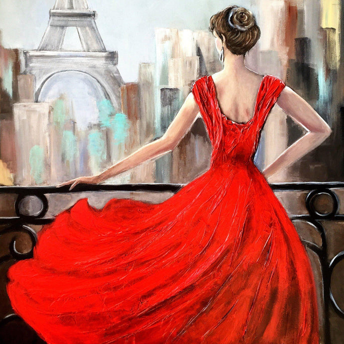 Lady In Red Diamond Painting