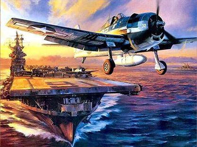 Military Plane Carrier Take Off Diamond Painting