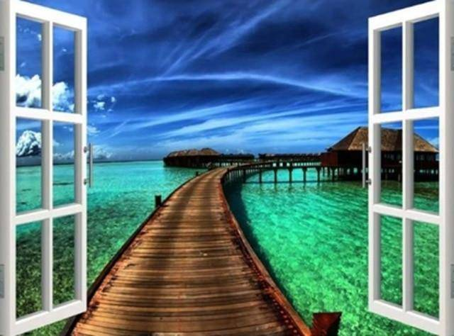 Ocean Dock Window Scene Diamond Painting