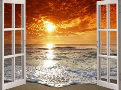Ocean Sunrise Window Scene Diamond Painting