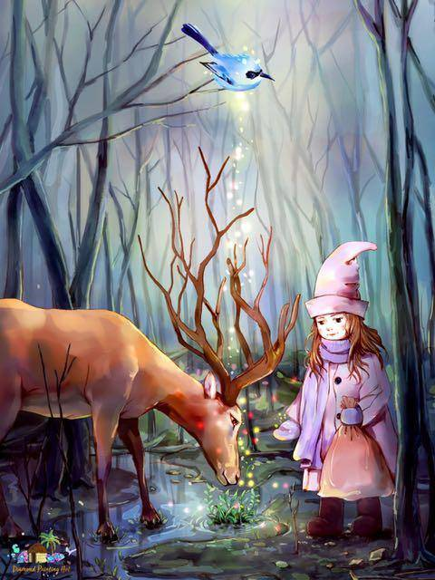 Reindeer And The Girl Diamond Painting