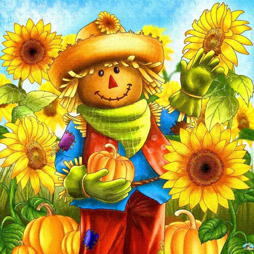 Sunflower Scarecrow Diamond Painting