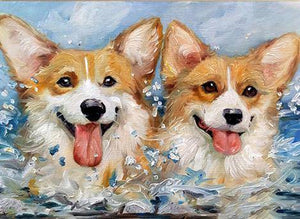 Twin Puppies Diamond Painting