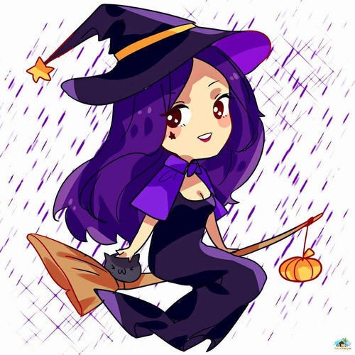 Witch Purple Hair Diamond Painting