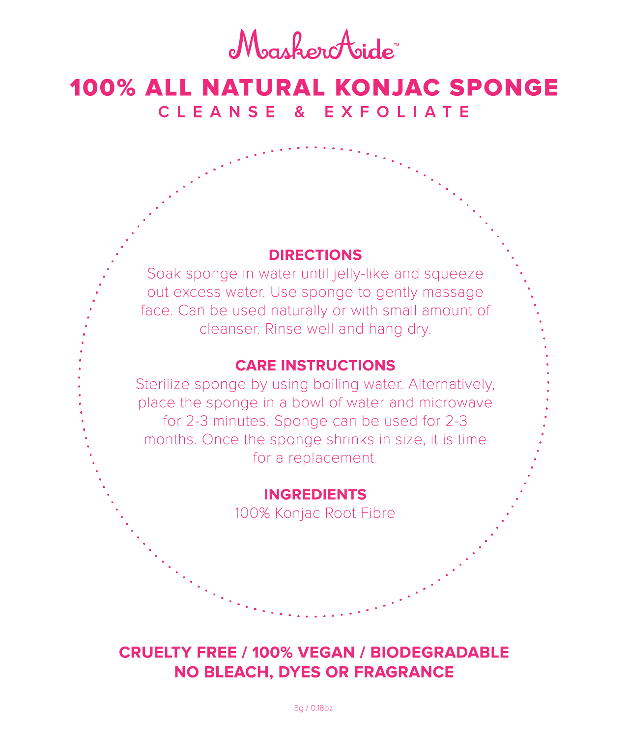 100% All Natural Konjac Sponge