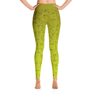 "Leggings - ""Debbie's Dancers"" Original Art - Yellow Ombre"