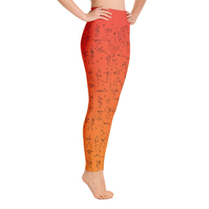 "Leggings - ""Debbie's Dancers"" Original Art - Orange Ombre"